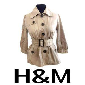 H&M Short Trench Coat Khaki Tan Women's Size 6